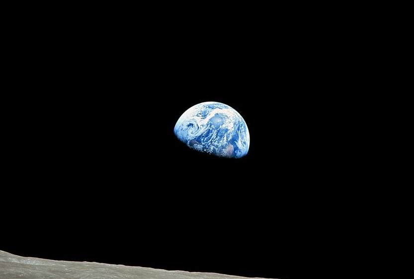 """""""Earthrise"""", captured by Apollo 8 on Dec. 24, 1968."""